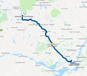 A Google map of the route we took to (and from) Mont Tremblant