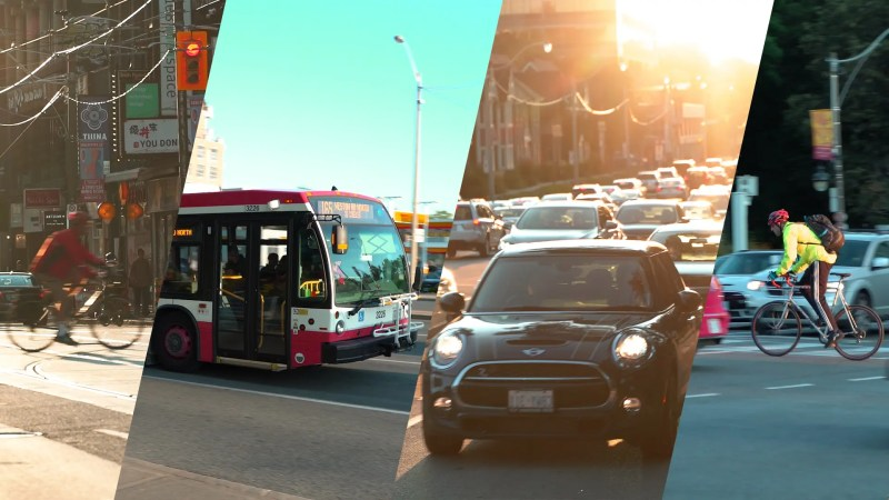 THUMBNAIL costs of commuting compared no text, sh0owing a bike, bus, car in traffic, and a cyclist in toronto traffic