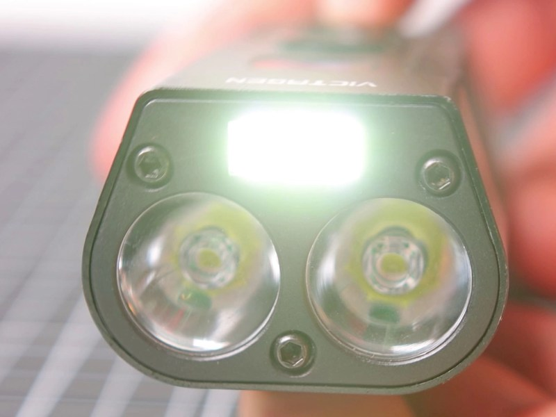 Close up of the Victagen front light with the fog light turned on