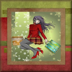 Anime Girl Christmas Card