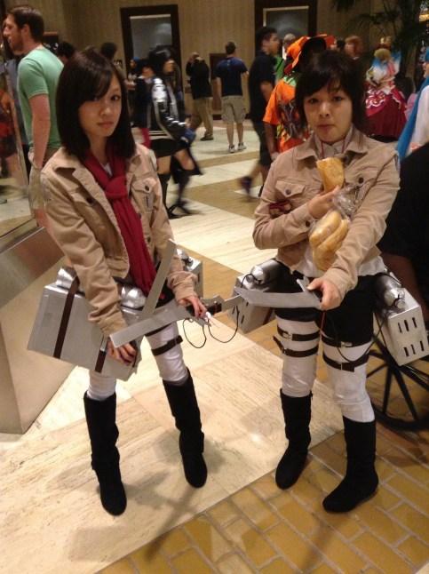 A-Kon cosplay Attack on Titan Mikasa and Sasha