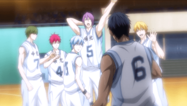 The Teiko Middle School basketball team near the beginning of ep 15, when Aomine is still somewhat receptive to encouragement.