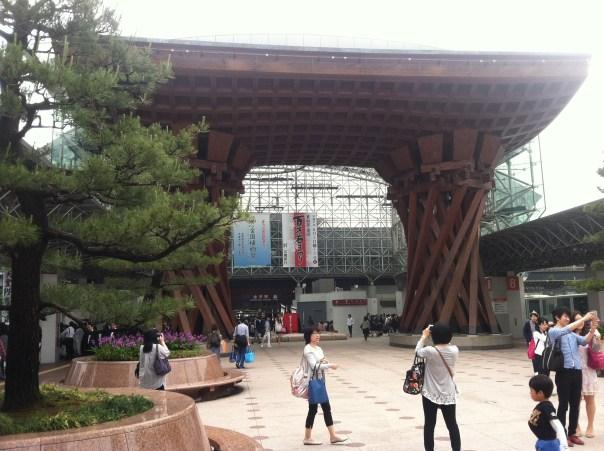 Kanazawa Station, the train station that connects to Tokyo via bullet train from Kanazawa's downtown.