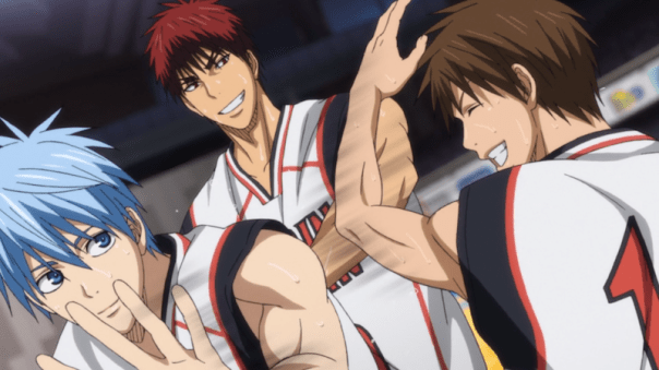 Kuroko and Kagami high-five Furihata after his first time on the court, back during the Kaijo game. Furihata was nervous, and he isn't on the same level as the main players. But the team appreciates his contribution, whether he's on the court or the bench. They genuinely enjoy playing with and encouraging one another (ep 68).