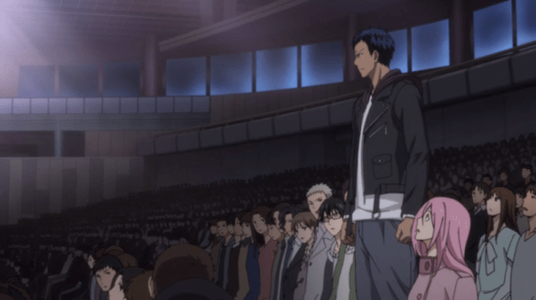 When you live your life differently, people start to notice, no matter what field you're in—basketball, anime fandom, or whatever else. They may decide to take on the same beliefs and root for you, as Aomine roots for Kuroko in this scene, or they may ridicule you. As Christians, our words and choices should get both reactions.
