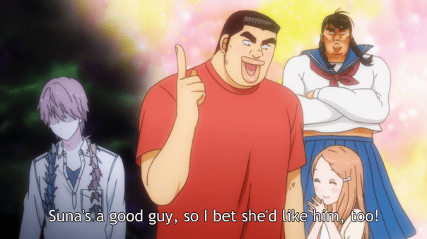 Takeo and Yamato brainstorm the ideal match for Suna, who is drained just imagining it. Their support in the hospital earlier that same day was plenty. He doesn't them to dream up a girlfriend for him, thank you very much. (ep 9)