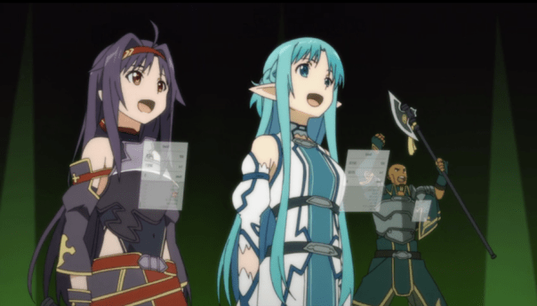 Yuuki and Asuna celebrate another win in ALO (ep 24).