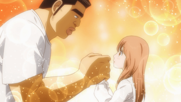 Takeo warms Yamato's hands. This sweet moment is compromised for the audience, since we know Takeo is doubting himself in ways that could negatively affect their relationship. (Ore Monogatari ep 23)