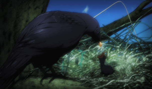 "The Karasuno team is associated with crows, so we're treated with imagery like this that emphasizes what the team's going through. In this case, Nekoma's coach has been musing on ""baby crow"" Hinata's impending growth (ep 5)."