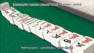 Tanyao: all tiles are 2-8. Pinfu: all sequences with a two-sided or more wait and a pair of numbers or guest winds. Sanshoku: the same sequence of three in all three suits. Dora: special tiles that increase your hand's score, in this case the two red 5's.