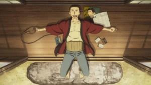 Yotaro listens to rakugo in ep 5 of Descending Stories