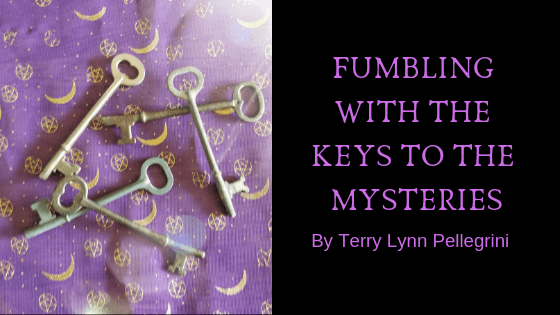 Fumbling with the Keys to the Mysteries- Five skeleton keys on a purple background
