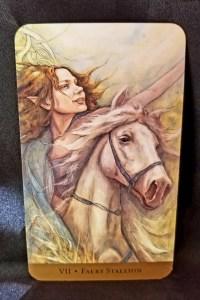 Faery Stallion - A faery woman riding a white stallion looking towards the future