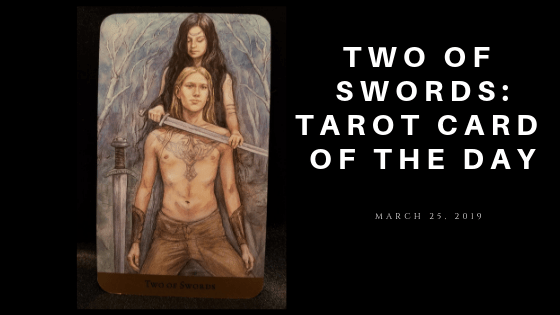 Two of Swords - a woman holding a sword to a kneeling man's neck