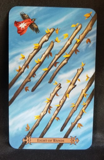 Eight of Wands Tarot Card - Eight staffs with leaves on them floating in the air along side bird