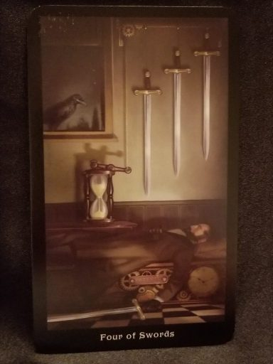 Four of Swords Tarot Card- Man lying on a benc, holding one sword while three moere hang over his head