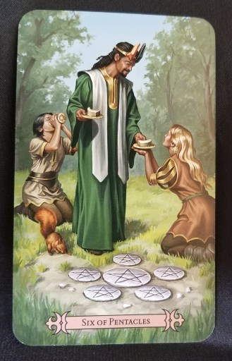 Six of Pentacles - A crowned man giving food and drink to people and a squirrel
