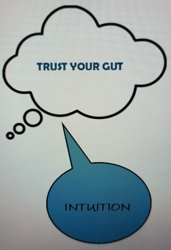 Intuition Interruptus - thought bubble saying trust your gut