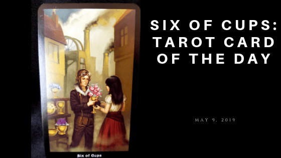 Six of Cups Tarot Card - A young man dressed like an aviator givin a yoiung woman flowers placed in a cup