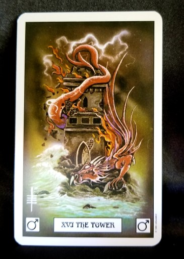 The Tower Tarot Card - A large red dragon wrapped around a crumbling tower.