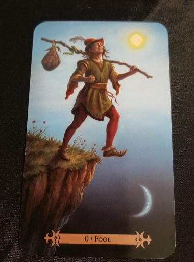 Fool - Tarot Card:  A man dressed in medieval garb, carrying a staff which a bag is attached. He is looking up at the sky and taking a step off of a cliff.