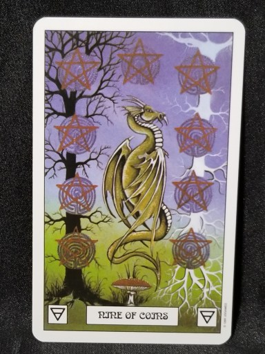 Nine of Coins - A Dragon floating over a mushroom, with a black tree on the left and a white tree on the right. both trees have pentacle coins on them.