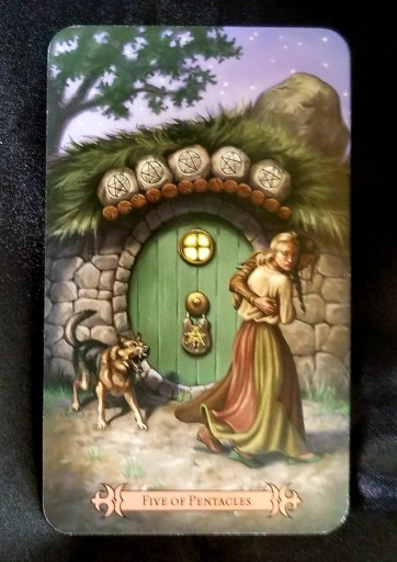 Five of Pentacles - Tarot Card:  A man and woman running from a locked door and a barking dog.