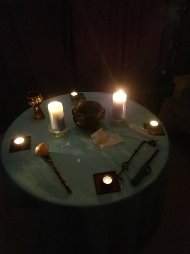 """Safe"" Witchcraft - A picture of an altar during a ritual"