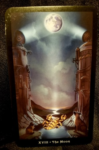 The Moon - Tarot Card:  A cat, dog and mechanical lobster looking up at the full moon.