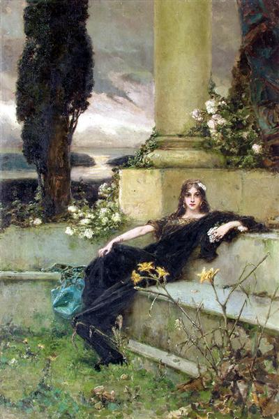 Finding Magick in Silence - A woman dressed inRoman Garb reclining on stone steps.