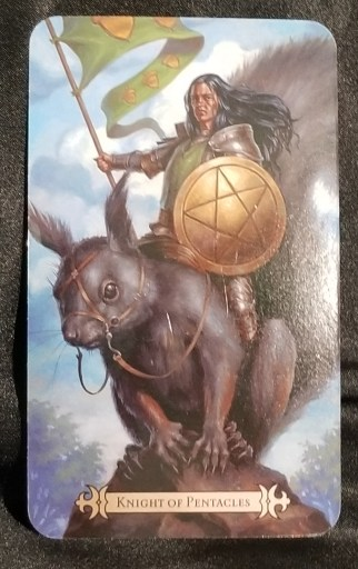 Knight of Pentacles- Tarot Card:  A man dressed in armor, holding a pentacle sheild and a flag, riding a giant squirrel.