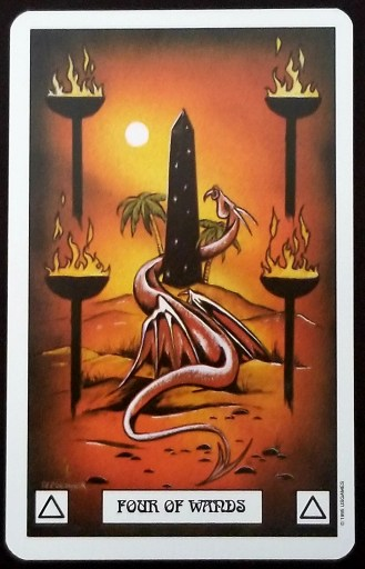 Four of Wands- A pink dragon curled around a monolisk. Four blazing torches marke the four corners around it.