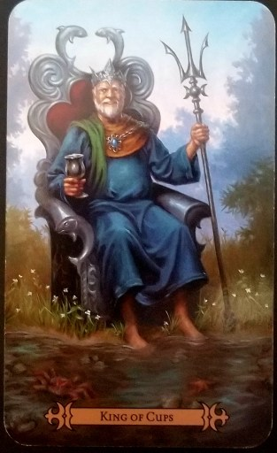 King of Cups- A King dressed in blue robes seated on a throne at the esge of a the sea.  His feet are half-submerged in the waters.
