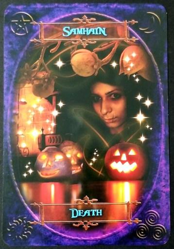 Samhain-Death - A Witch peering over a Samhain altar.