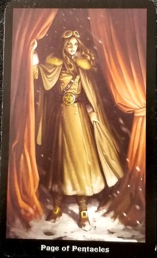 Page of Pentacles- A woman in military attire holds back a curtain to step out into a snowy world.