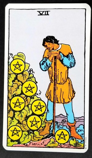 Seven of Pentacles- Tarot Card: A man leaning on a staff looking thoughfully at 7 pentacles on a bush.