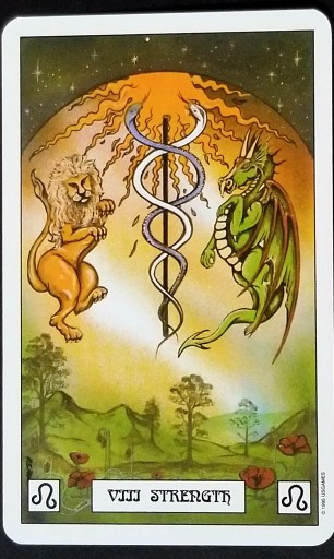 Strength - A lion and a dragon, a caduceous between them.