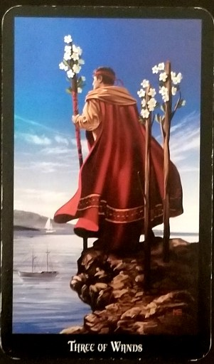 Three of Wands- A man, holding a flowering staff - two behind him - stands on a cliff looking over an inlet sea.