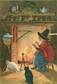 15 Magickal Projects- An old witch sitting in front of the fire.