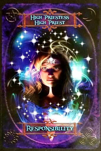 Responsibility - A beautiful woman looks out of the card at you.  She wears a triple moon crown on her head.
