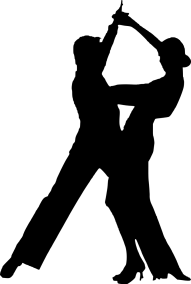Doing the Pandemic Cha Cha- A silhouette of a dancing couple