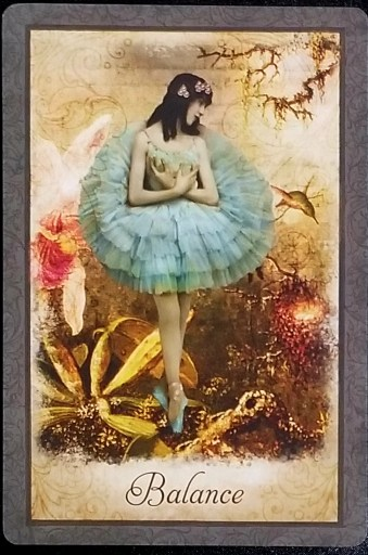 Weekly Oracle Reading - Balance: An ethereal ballerina stands en pointe amidst a garden.
