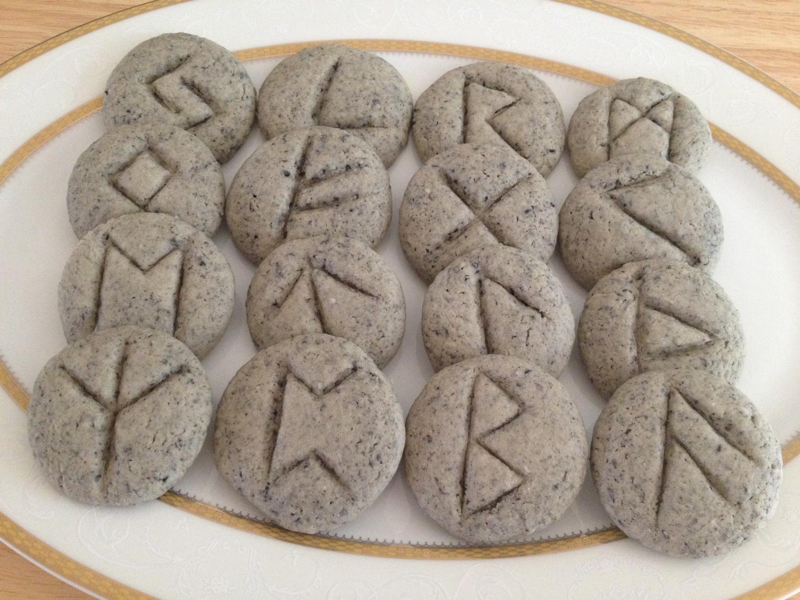 Edible Rune Divination Black Sesame Shortbread Rune Cookies Benebell Wen