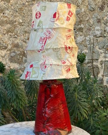 lampe rouge céramique/papier népalais