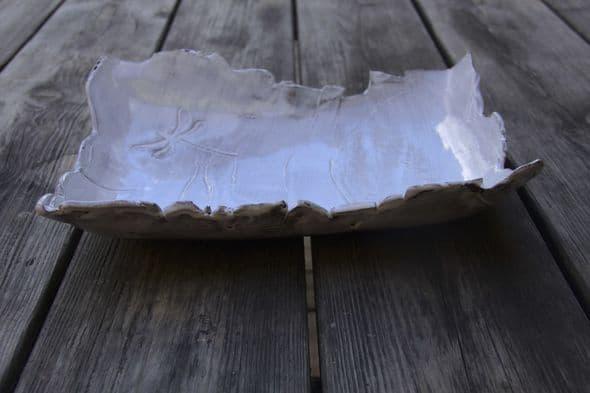 Plat rectangulaire blanc avec impression libellule