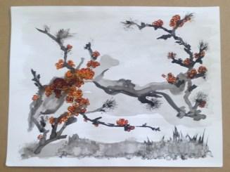 fleurs encre de Chine par Claire Archambault
