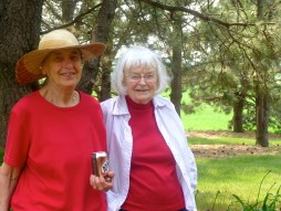Sisters Ida and Clarice enjoy the gardens