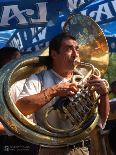 Guca, a truba performs at the famous trumpet festival in Serbia