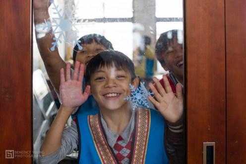 Minquan primary school, happy school kids