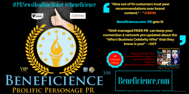 """""""Nine out of 10 customers trust peer recommendations over brand content."""" - * CISION Beneficience.com PR gets it! """"Well-managed PEER PR can keep your connection & network pro updated about the """"Who's Business Celebrity Who"""" that they know is you!"""" - Tracey Bond ^007, PhJrn -Publicist/Press Agent at Beneficience.com #PRNewsHeadlineMaker @beneficience"""